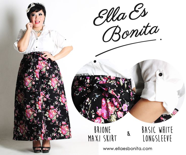 Basic white Long Sleeve & Brione Maxi Skirt - This vintage shirt and skirt features high quality cottone crepe for shirt and thick stretch twill for skirt which specially designed for sophisticated curvy women originally made by Indonesian Designer & Local Brand: Ella Es Bonita. Available at www.ellaesbonita.com