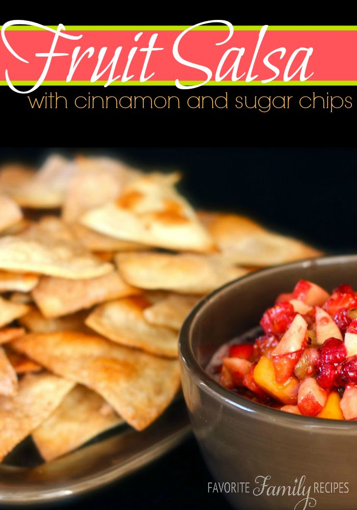 Fruit Salsa with Cinnamon and Sugar Chips - With the Super Bowl this Sunday, I though I would share an appetizer that is a favorite at our house.  This are so addicting and delicious.  And the chips are baked so that makes it a little healthier, right?  The fruit salsa makes a huge batch so if you are feeding a smaller crowd you may want to half it.