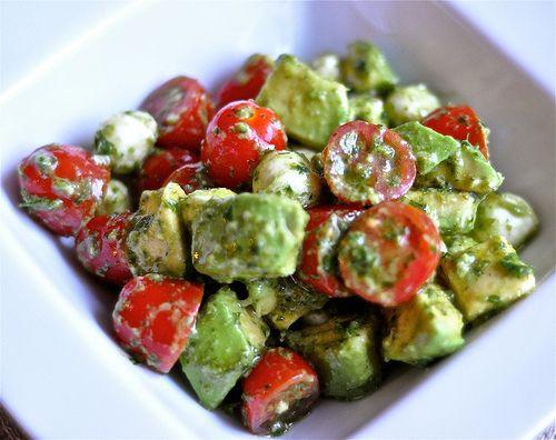 Mozzarella, Tomato, Basil and Avacado Salad.