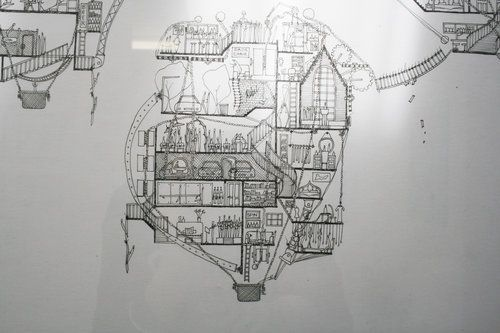 Ellie Compton: Dream Balloons New Zealand Artist that intertwines architecture and Narrative in complex hand drawings