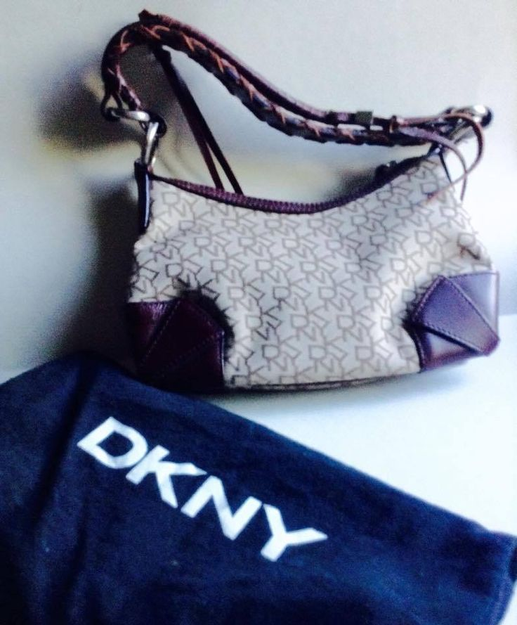 SALE-New DKNY bag purse, Signature logo, Donna Karen NewYork, Leather, Jacquard  #DKNY #ShoulderBag