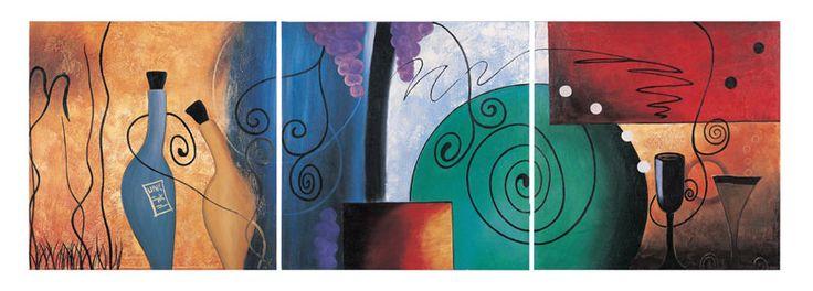 çağdaş ve soyut sanat üçlü set modern tablo