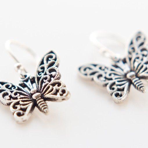 Sterling zilver vlinder oorbellen