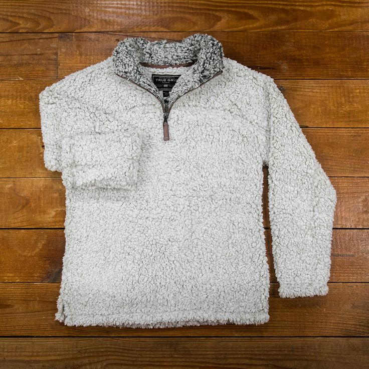 True Grit Frosty Tipped Pile Pullover in Putty.