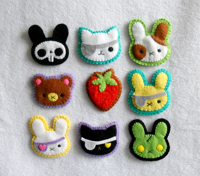 broches de fieltro kawaii