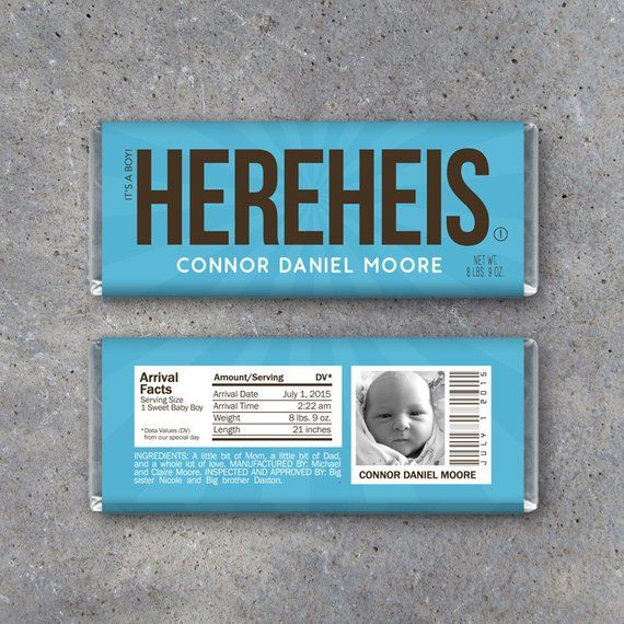 This Personalized Birth Announcement Candy Bar Wrappers In Blue Printable Here Personalized Birth Announcements Birth Announcement Candy Hershey Bar Wrappers