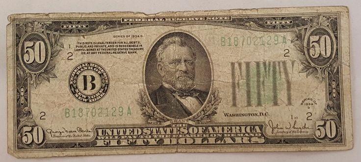 $50 Bill Series 1934-D Federal Reserve Note FR2102B Good