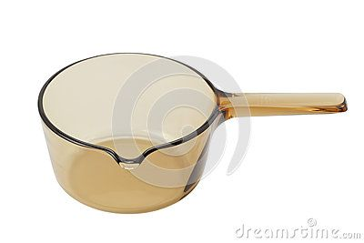 Brown glass pan  for oven on white background