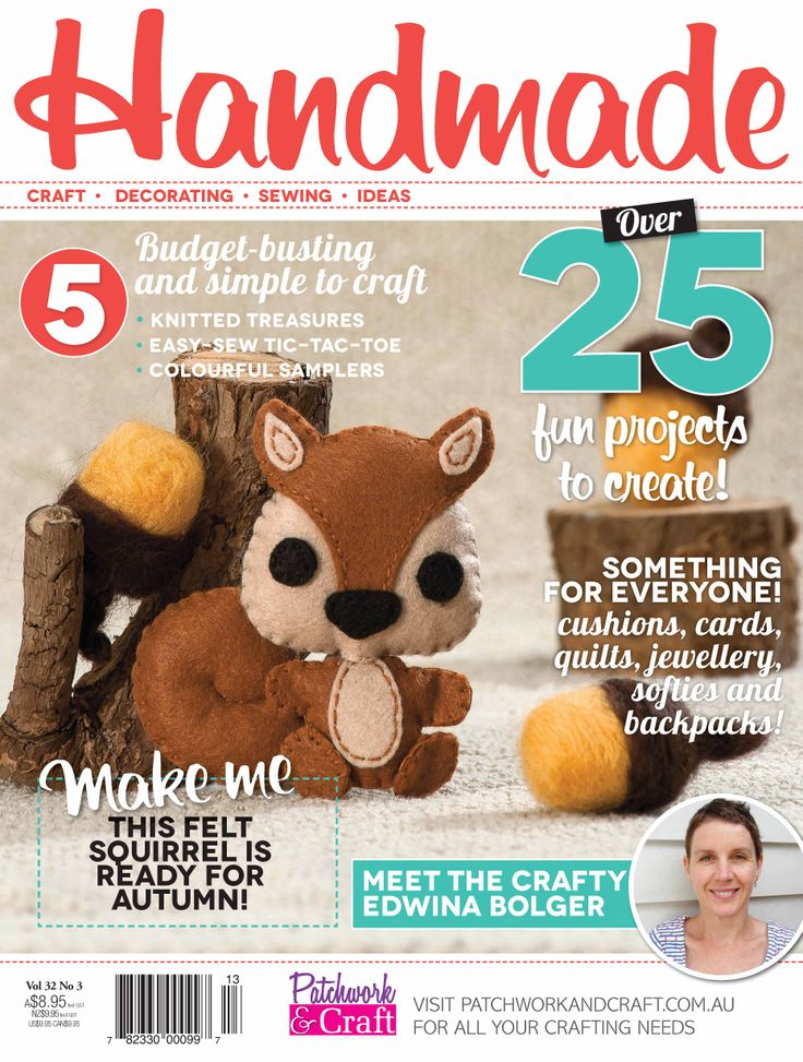 Handmade Magazine - Volume 32 No. 3. Australia's top-selling monthly contemporary craft magazine is perfect for the time-starved craft enthusiast and those who like to sample a range of crafts. Including patchwork, sewing, knitting, stamping, scrapbooking and card-making - Handmade really has got it all!