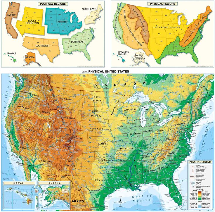 USA Physical Map United States Physical Map Wall Mural From - Detailed map of us
