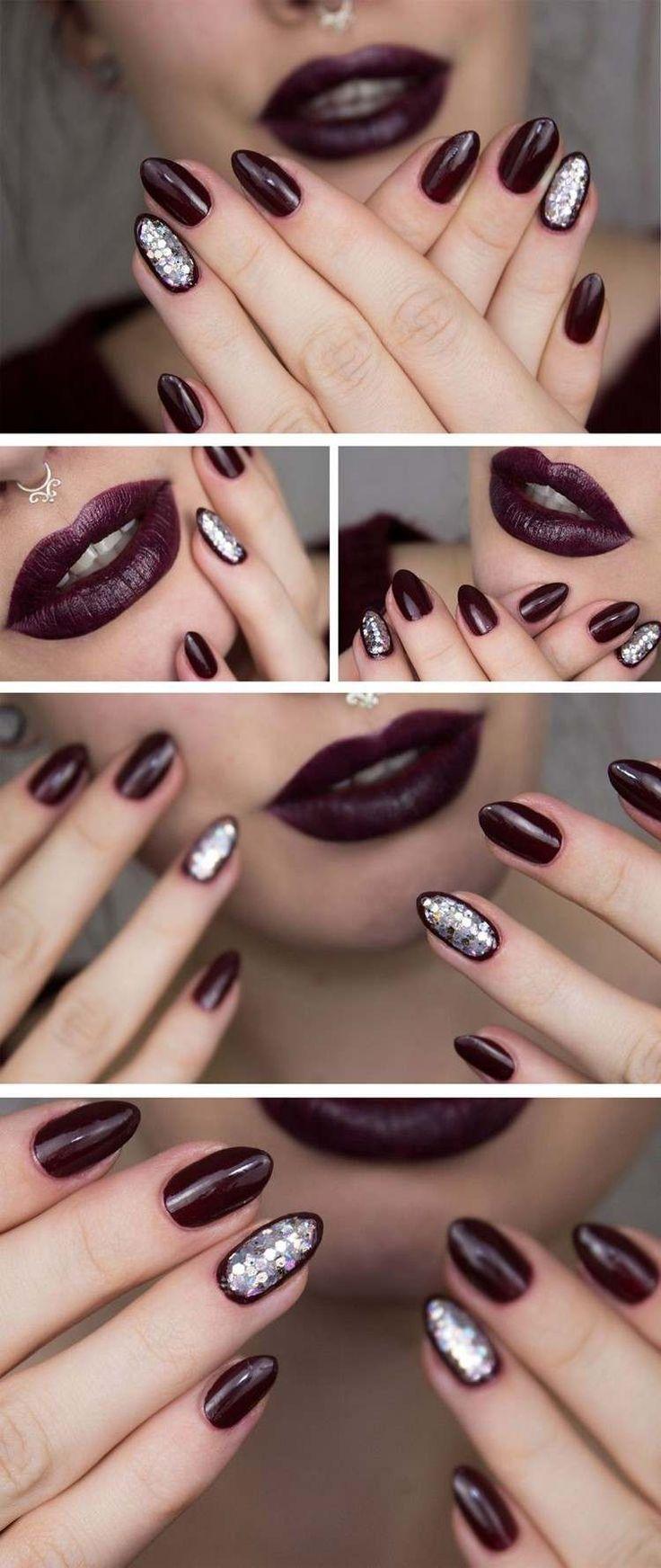 dramatische dunkle Farbe und Nagellack mit silbernen Glitzerpartikeln