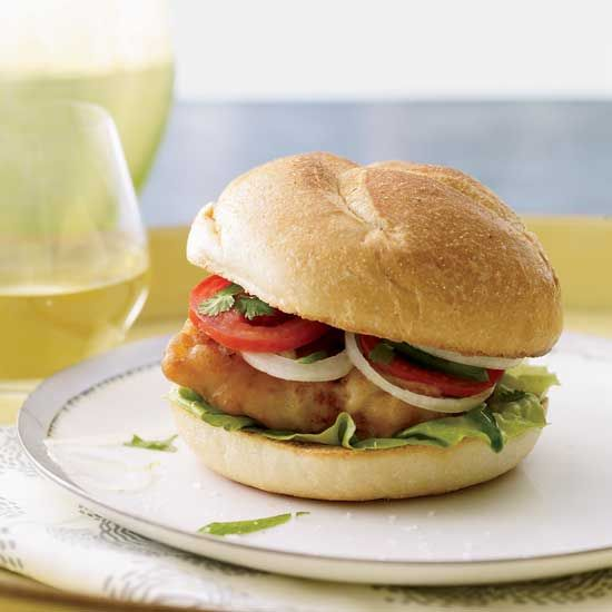 *Fried-Fish Sandwiches with Jalapeño-Spiked Tomatoes. Really good, but frying is a mess. Not sure it's worth it for a fried fish sammy