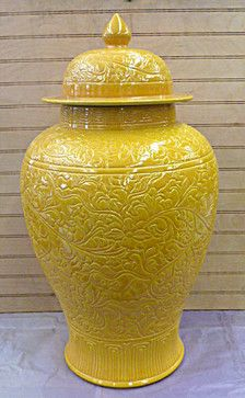 Imperial Yellow Carved Floral Design Chinese Porcelain Jar Vase - asian - accessories and decor - eBay
