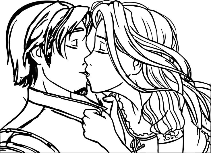 awesome Rapunzel And Flynn Couple Kiss Coloring Page ...