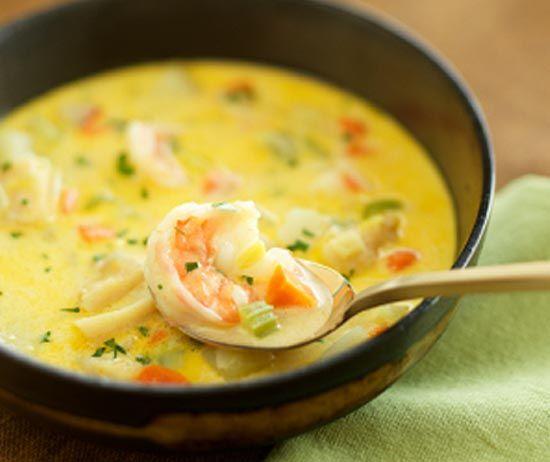 Рецепт суп с креветками и с плавленым сыром