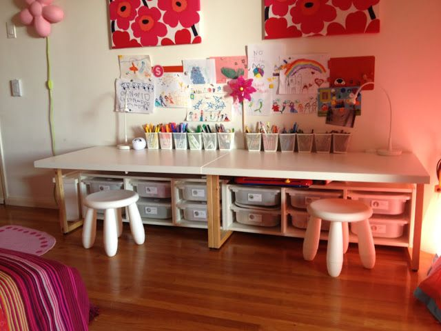 IKEA Hackers: Toddler desks - I like the wide desks and storage below for arts and crafts storage.