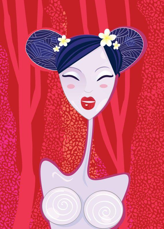 Asia hand drawn Original Geisha RED by RosemaryWellnessShop