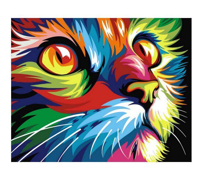 """Раскраска по номерам Артвентура """"Радужный кот Ваю Ромдони ..."""