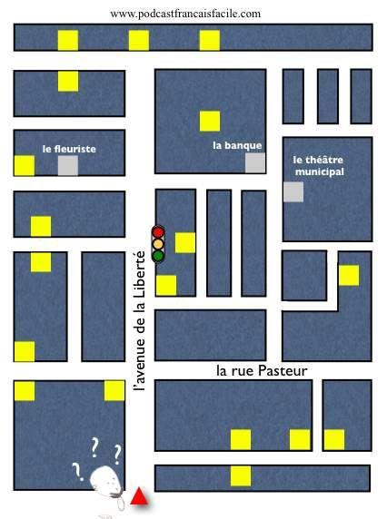 Apprendre le Français avec podcastfrancaisfacile. Voici un exercice très important pour préparer son voyage: apprendre à se diriger en ville.