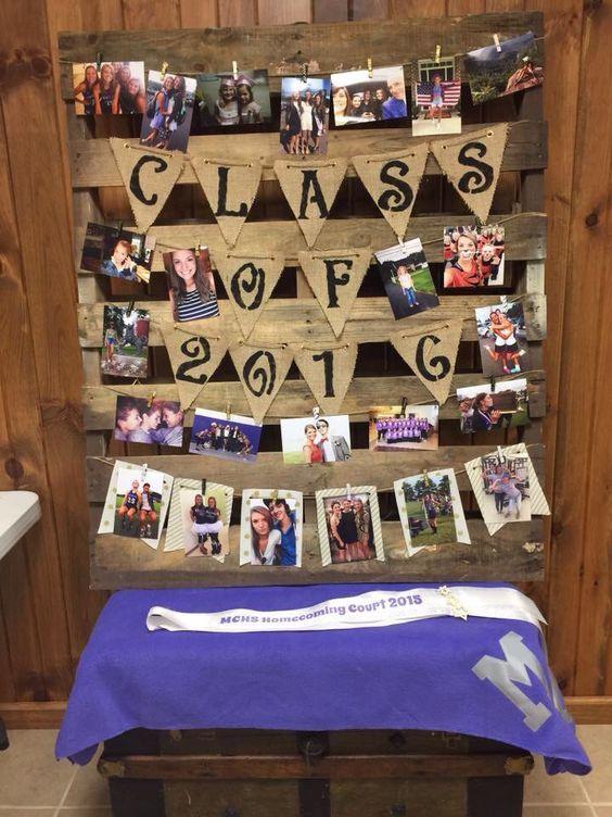 Photo Display | DIY Graduation Party Ideas for High School | DIY College Graduation Decorations Ideas
