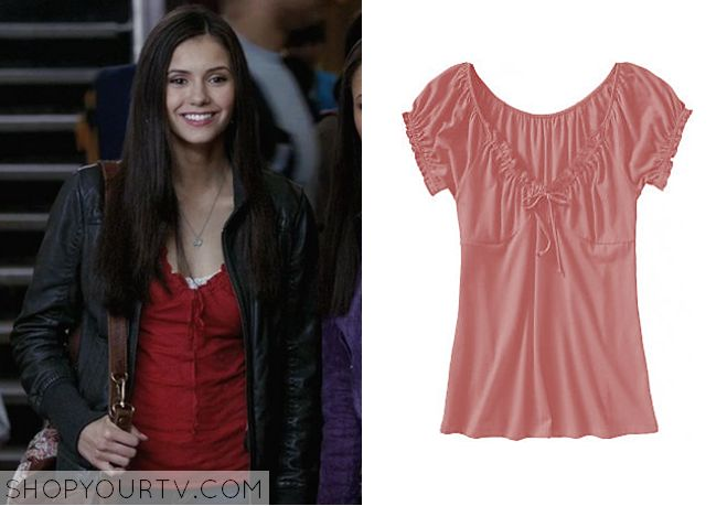 The Vampire Diaries: Season 1 Episode 1 Elena's Red Ruffle Trim Blouse |