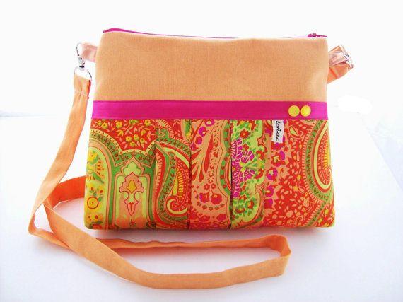 Sac bandouliere plissé abricot et motif cachemire orange rose