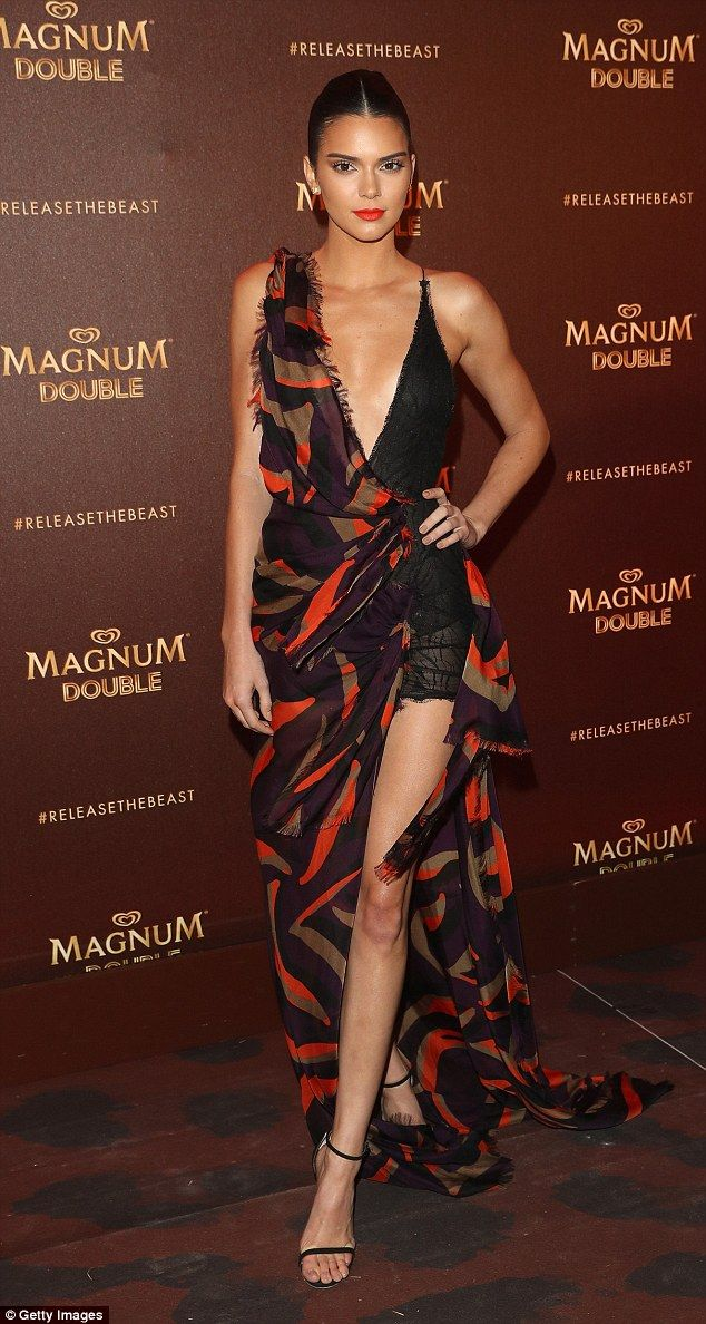 Exotic vibes: Kendall was embracing Magnum's 'Release The Beast' slogan in her gorgeous go...