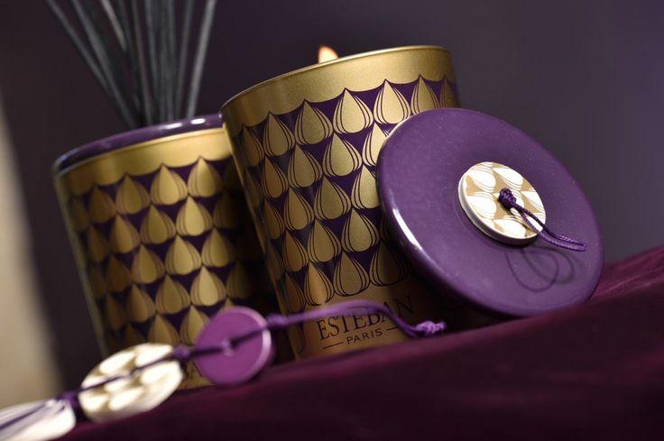 Esteban Paris home perfumes. Figue Noire Scented decorative bouquet and refillable decorative scented candle.