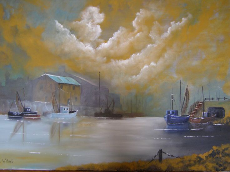 oil painting by c walters Harbour scene