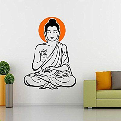 Buy Yogi Buddha Black Multicolor Wall Sticker at Lowest Price | Wall Decal | Wall Art - SRG India  #wallart #art #homedecor #home #wallsticker