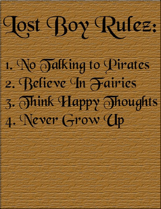 Lost Boys Rules Sign For Peter Pan Themed Party by DylansPartyDesigns on Etsy