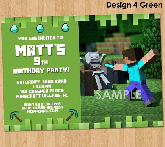 printable minecraft invitation