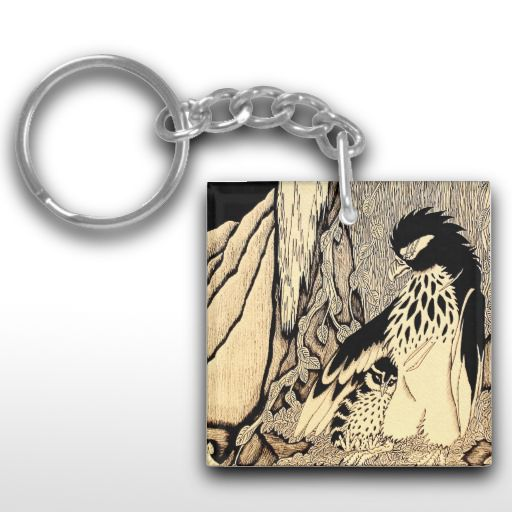 """The Hunter And The Prey"" Black and white illustrated bird Keychain"