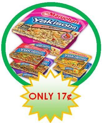"Maruchan Yakisoba Japanese Noodles ALA $0.17 each wyb (6)!  On SALE at PUBLIX BOGO $0.99 (Deal valid 9/22 – 9/28, 9/21 – 9/27 for some)  Maruchan Yakisoba Japanese Noodles, Assorted Varieties, 3.24 to 4.27 oz BOGO $0.99  Apply (2) Clip & Ship Coupons ""SAVE $1.00 When You Buy Three Maruchan Yakisoba Products"" and your OOP will be $0.97 for all (6) packages…ONLY 17¢ EACH!"
