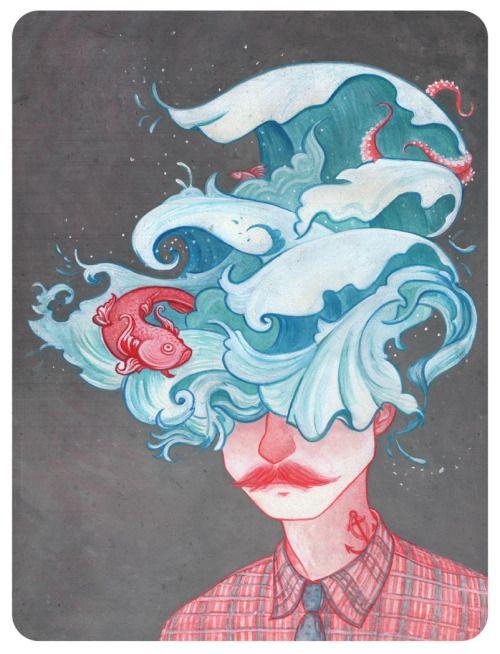 """Cover book illustration for Octavio Paz  'sFreedom under Parole, based on a short story """"My life with a Wave"""".Ilustracion de tapa (ejercicio) para el libro de Octavio Paz """"Libertad bajo palabra"""" (1935-1957); basada en el cuento """"Mi vida con la ola""""."""