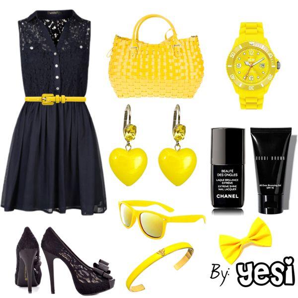 Look de vestido, combinacion en negro y amarillo. 9