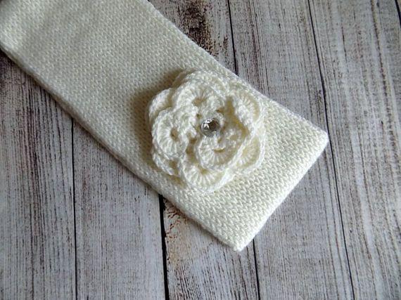 Knit white headband  Womens knit headband decorated with rose