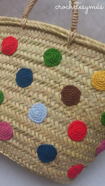 capazo con lunares de ganchillo  -  Spanish Shopping Basket with crochet moles