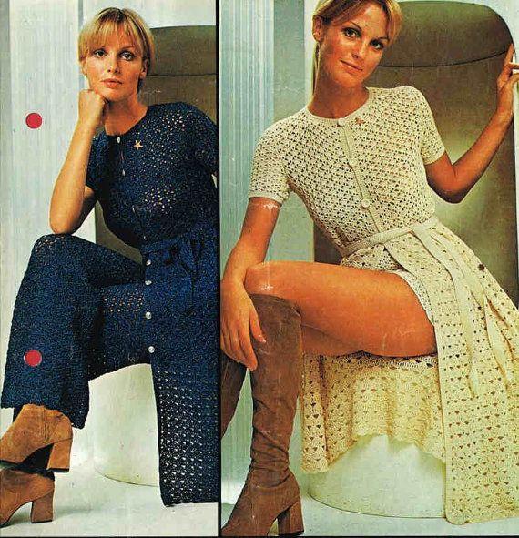 vintage ladies trouser suit  cardigan vintage by EnglishCrochet