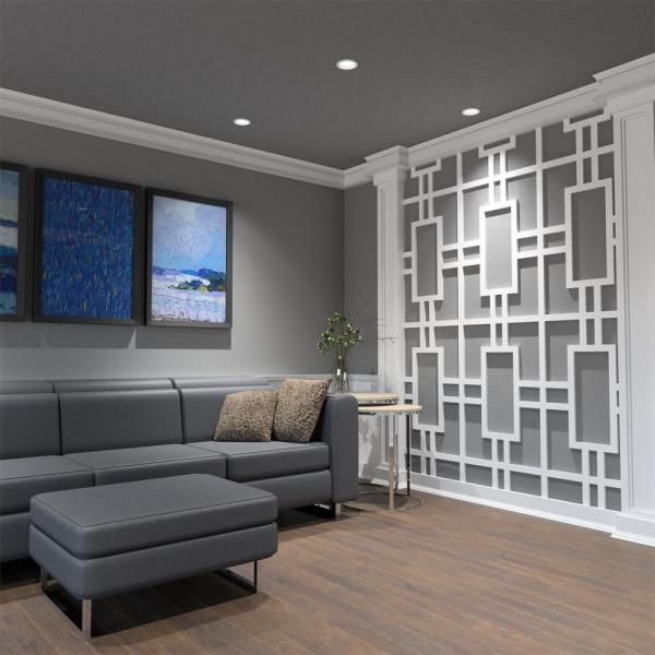 Ekena Millwork 3 8 In X 15 1 2 In X 23 3 8 In Large Hastings White Architectural Grad In 2020 White Wall Paneling Decorative Wall Panels Accent Walls In Living Room