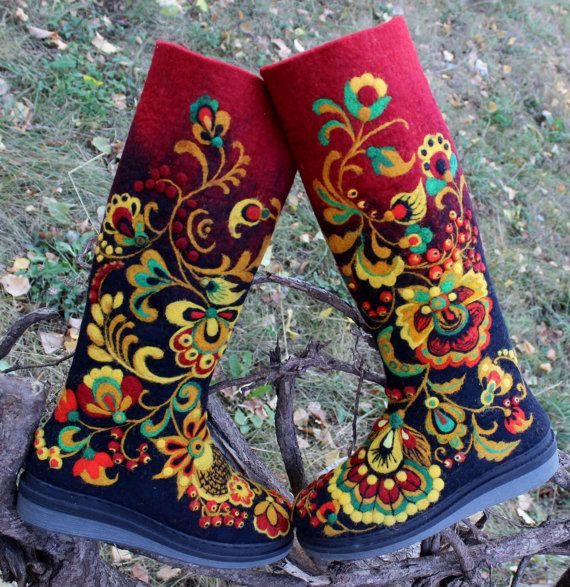 "Felt Boots Russian Style 100% Wool ""KHOKHLOMA"", Valenki, handmade, russian style"