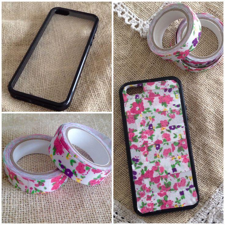 Ideas con washitape: carcasa de celular personalizada con cinta washi tape de género. #DIY