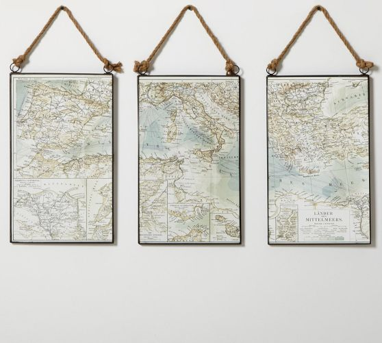 Map Triptych | Pottery Barn.........DIY idea - make this with maps of favorite places & hang in living room