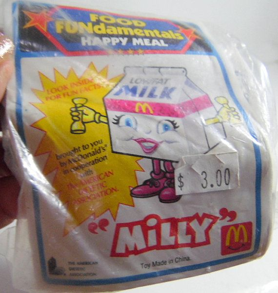 Vintage McDonald's Fast Food toy.  Milly Milk carton MIP