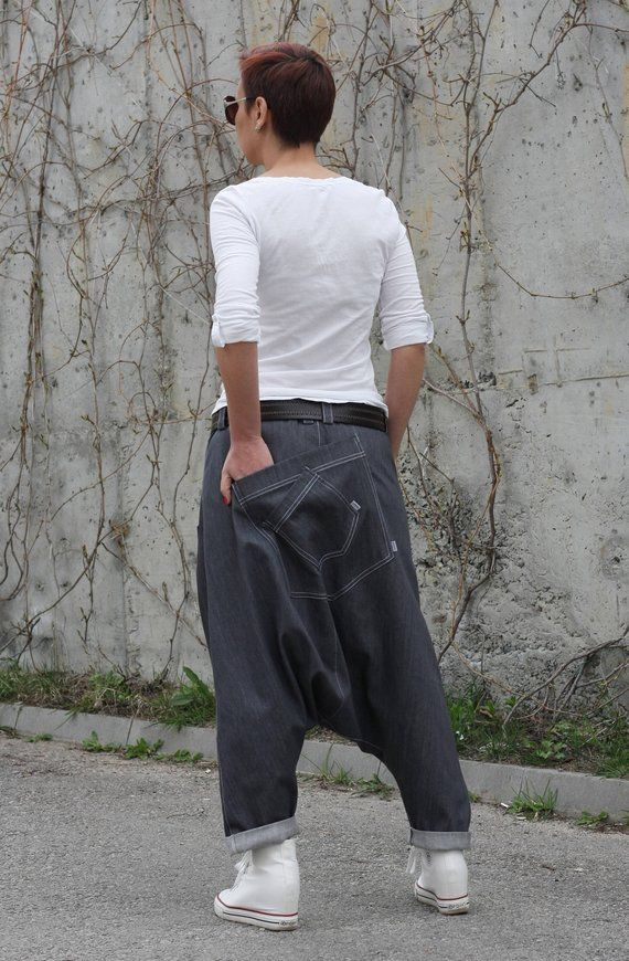 Mens Black Baggy Culottes Wide Leg Pants Comfy Casual Low Crotch Trousers