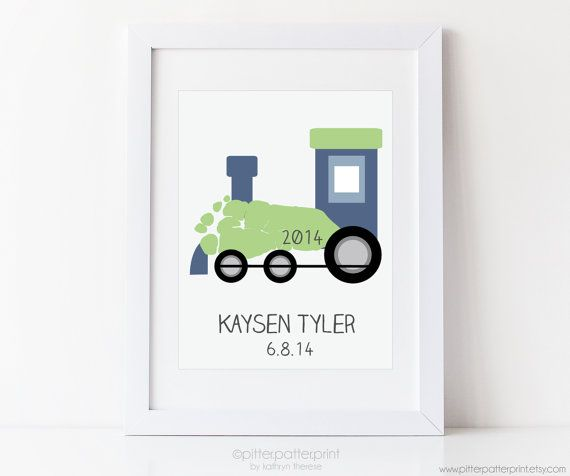 Transportation Nursery Art Print Train Wall Decor for Baby Boys Room by PitterPatterPrint uses your baby's actual footprints! Click through for other color & font combos and to see how it works.