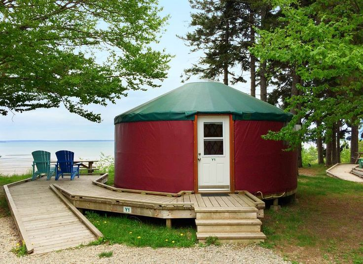 Experience the amazing views, unspoiled nature and proximity to the Bay of Fundy at the yurts in Fundy National Park's Headquarters Campground.