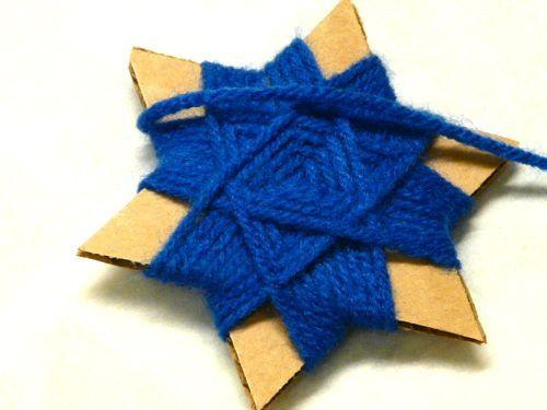 Cardboard and yarn star of david