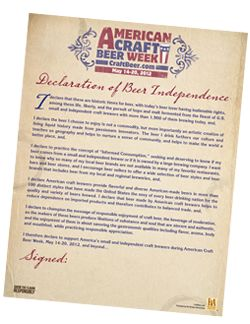 Declaration of Beer Independence - @American Craft Beer Week #ACBW