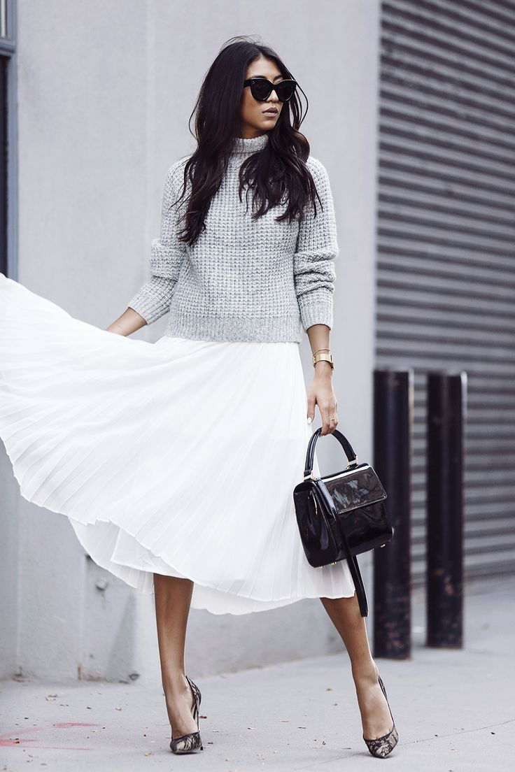 @notyourstandard white skirt + grey knit | Not Your Standard